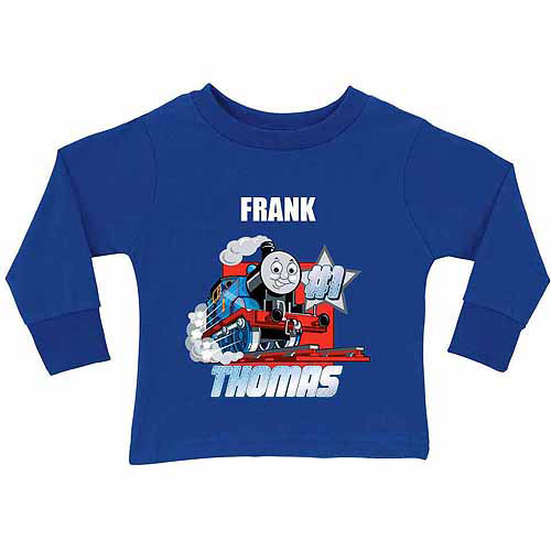 Personalized Thomas & Friends #1 Engine Toddler Boy Royal Blue Long Sleeve Tee