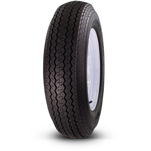 Greenball Towmaster 225/75D15 8-Ply Bias Trailer Tire and Wheel Assembly 5-on-4.5 Bolt Pattern, White Spoke