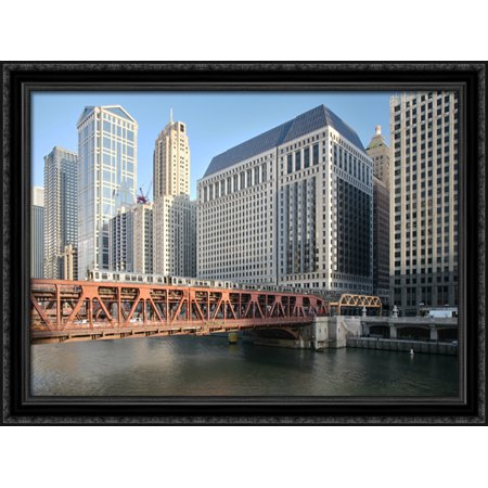 Wells Street Bridge  Chicago 38X28 Large Black Ornate Wood Framed Canvas Art
