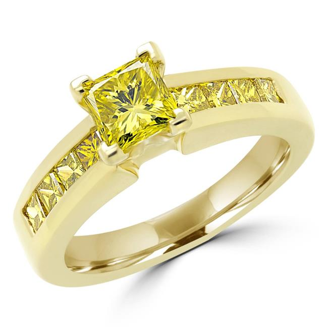 Majesty Diamonds MD160008-3.5 1.6 CTW Vivid Fancy Yellow Princess Cut Diamond Engagement Ring in 18K Yellow Gold, Size 3.5