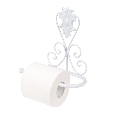 White Toilet Paper Holder, Vintage Iron Toilet Paper Towel Roll Holder Bathroom Wall Mount Rack Stand for Bathroom (Toilet Paper White Holder)