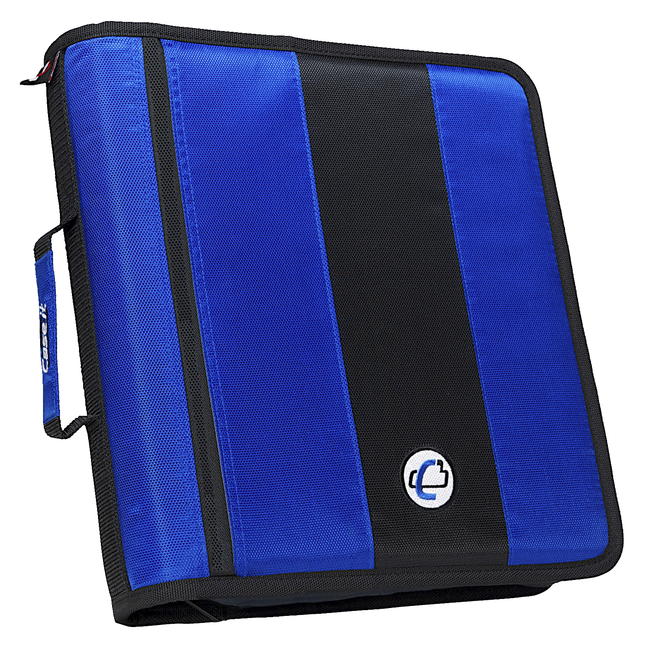 Case-It Classic O-Ring Zipper Binder, Blue, 2 Inches
