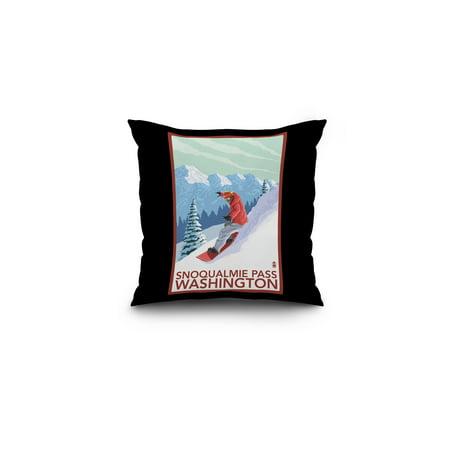 Snoqualmie Pass  Washington   Snowboarder Scene   Lantern Press Artwork  16X16 Spun Polyester Pillow  Black Border