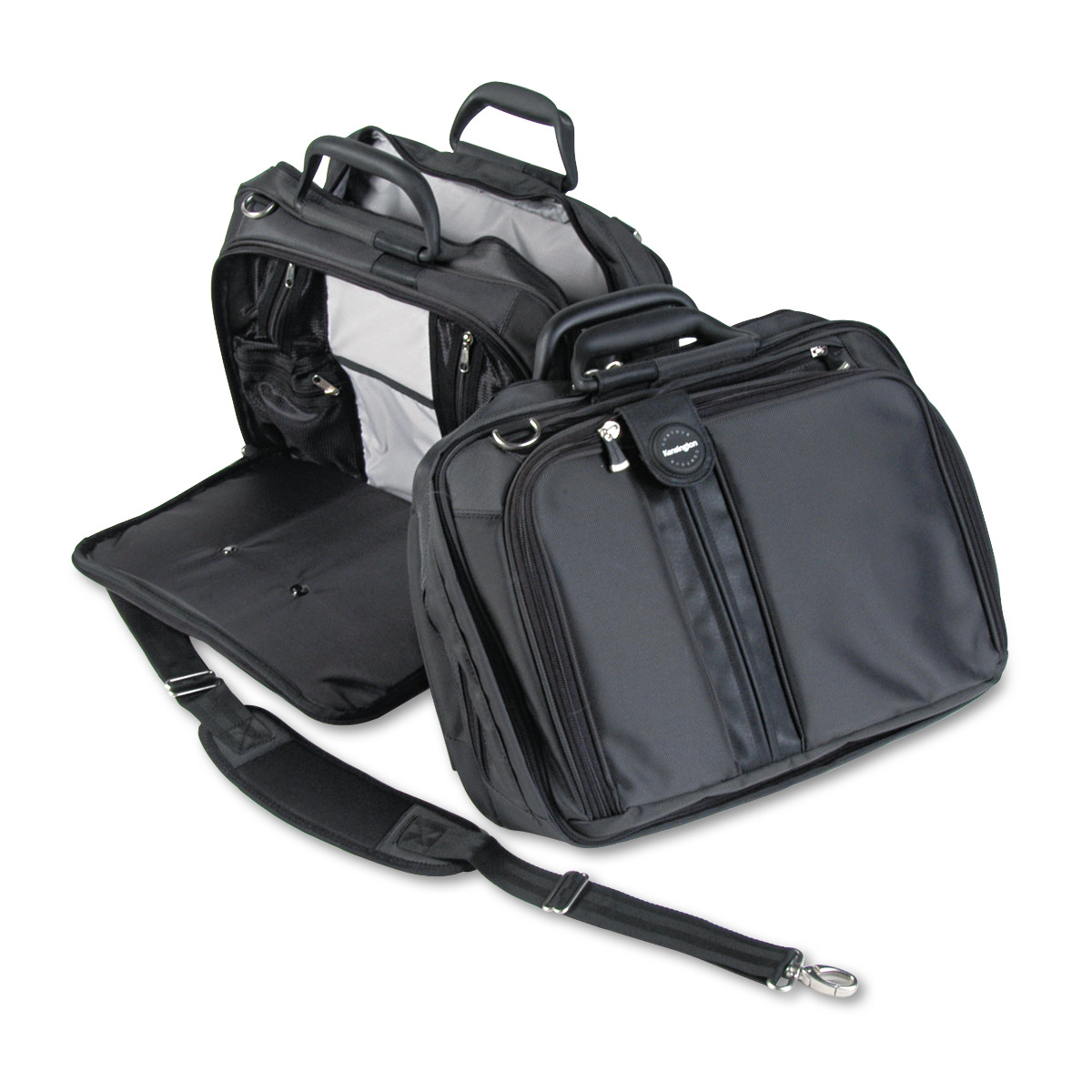 "Kensington Contour 15.6"" Laptop Carrying Case, Nylon, 16-1/2 x 6-1/2 x 12-1/2, Black"