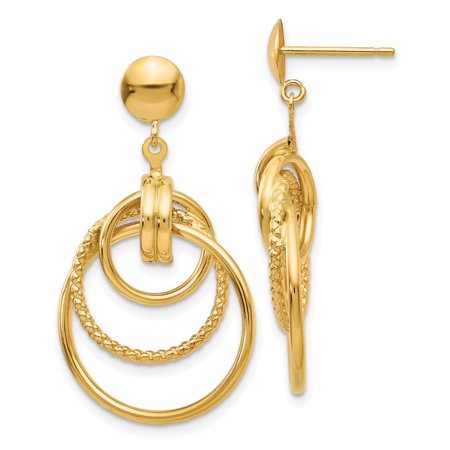 14K Yellow Gold Polished & Twisted 3 Circle Fancy Post Earrings - image 2 de 2