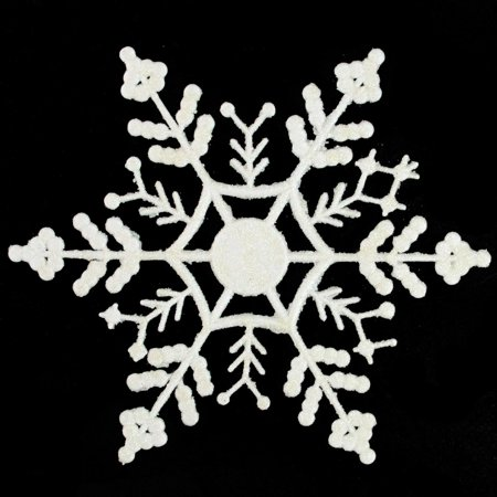 Club Pack of 12 White Glitter Snowflake Christmas Ornaments 6.25