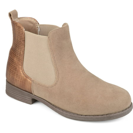 Brinley Co. Toddler Girls' Two-tone Metallic Embellished Heel Faux Suede Chelsea Boots for $<!---->