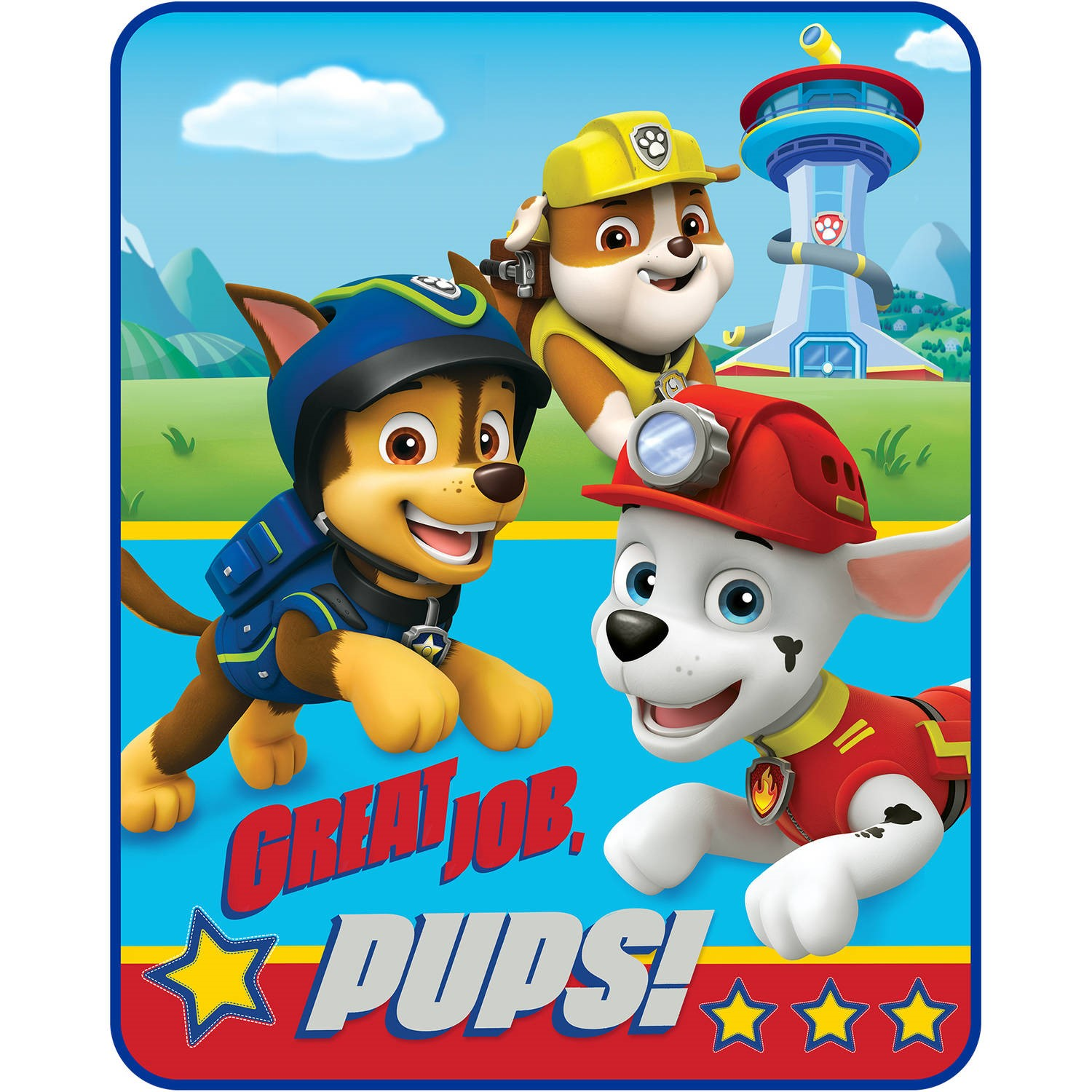 Paw Patrol 40 X 50 Kids Silky Soft Throw Feat Chase Marshall Rubble