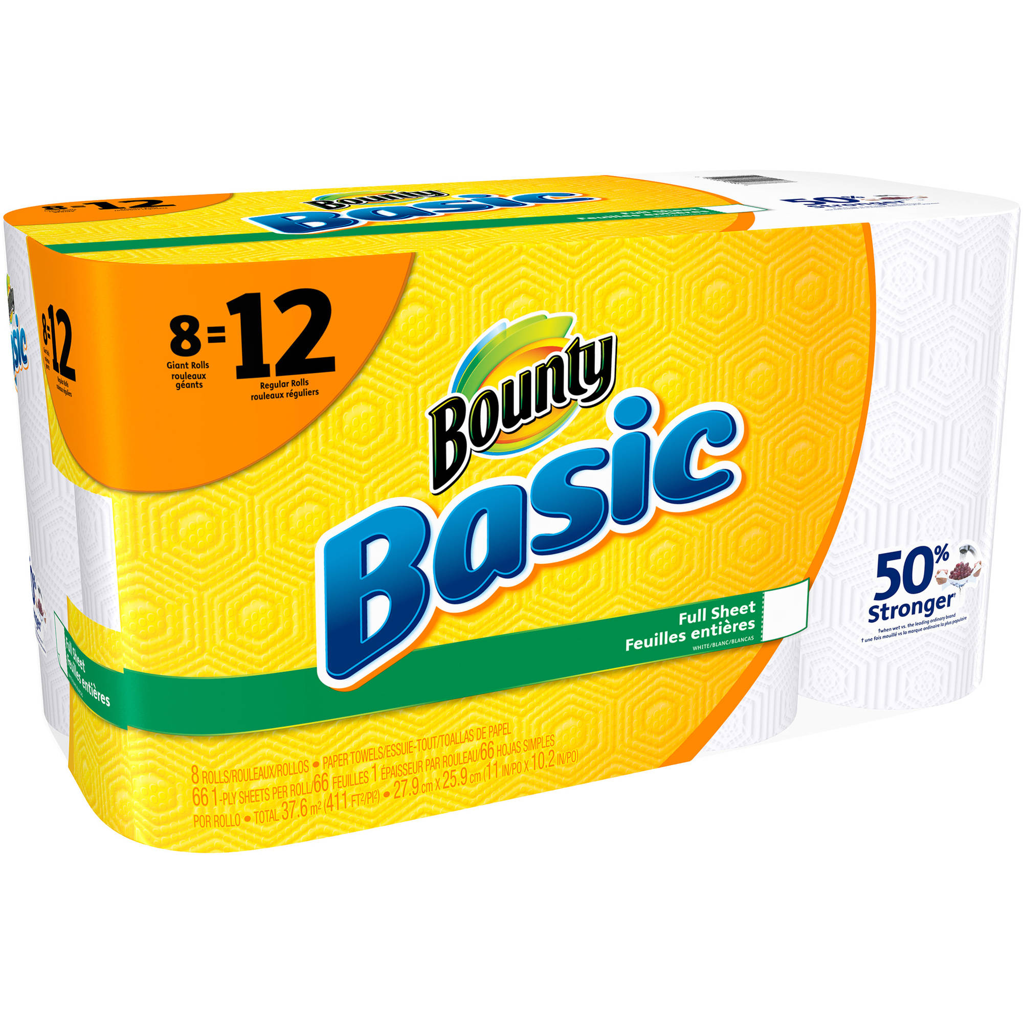 Bounty Basic Paper Towels Giant Rolls, 66 sheets, 8 rolls