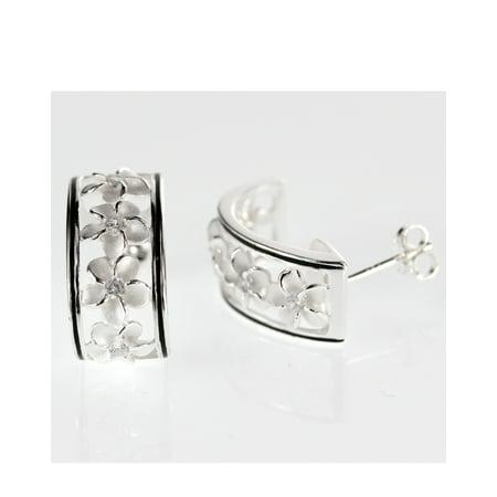 Hawaiian Jewelry - R.H. Jewelry Sterling Silver Hawaii Earrings Plumeria Cluster Flower