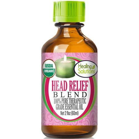 Organic Head Relief Blend Essential Oil (100% Pure - USDA Certified Organic) Best Therapeutic Grade Essential Oil -