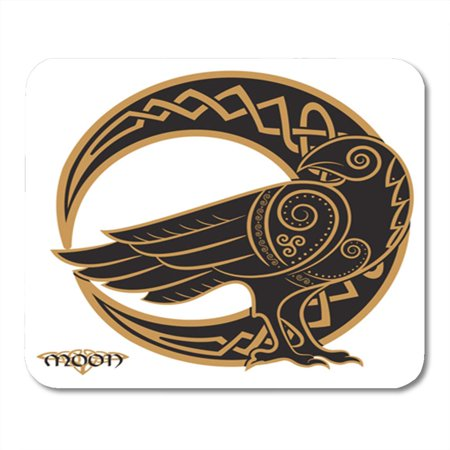 Halloween Styles Psd (LADDKE Odin Raven in Celtic Style on The of Moon White Mandala Pagan Halloween Bird Mousepad Mouse Pad Mouse Mat 9x10)