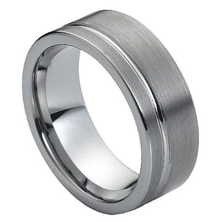 TK Rings 030TR-8mmx8.5 8 mm Brushed with Polished Shiny Off - Center Groove Tungsten Ring - Size 8.5 - image 1 de 1