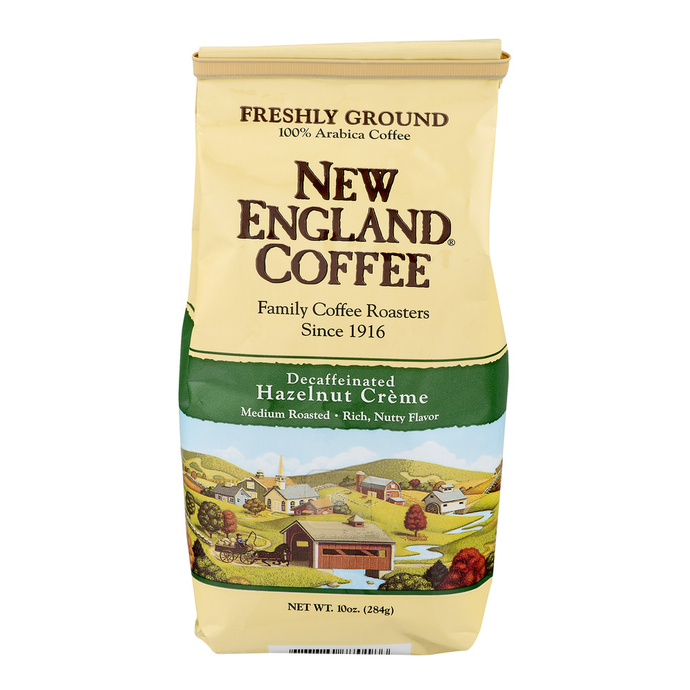 New England Coffee Freshly Ground Decaffeinated Hazelnut Creme Coffee 10 oz. Bag