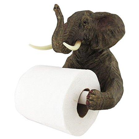 Pachyderm Servant Safari Elephant Holding Toilet Tissue Paper Holder Figurine Home Decor Great Gift For Savanna Lovers Elephant Fans Excellent Decor For Toilets Powder Rooms (Decor Toilet)