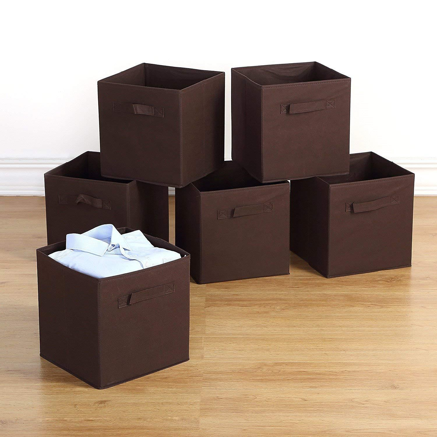 Ktaxon Storage Bins 6 Pack Collapsible Cloth Storage Baskets Durable Nonwoven Cube Basket Organizer Foldable Fabric Drawers
