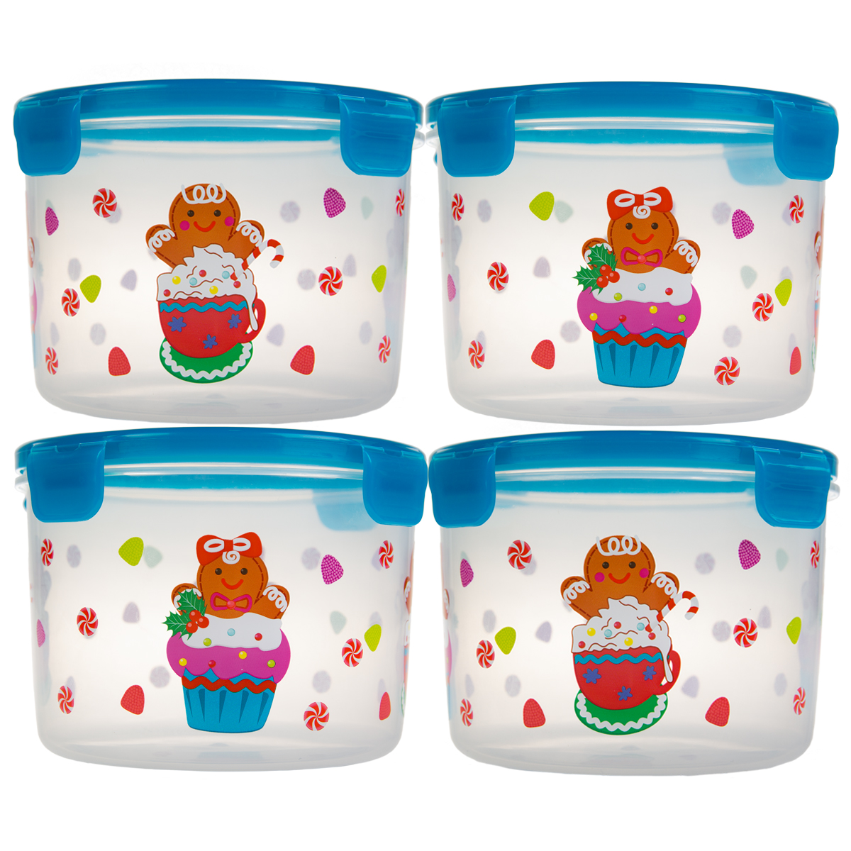 8pc Lock Lock Holiday Plastic Food Storage Containers Set in