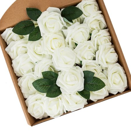 Look Rose - WALFRONT Artificial Flowers Foam Rose Head With Stem 50pcs Real Looking Fake Flowers Decoration for DIY Wedding Bouquets Centerpieces Bridal Shower Party Church Home Decorations