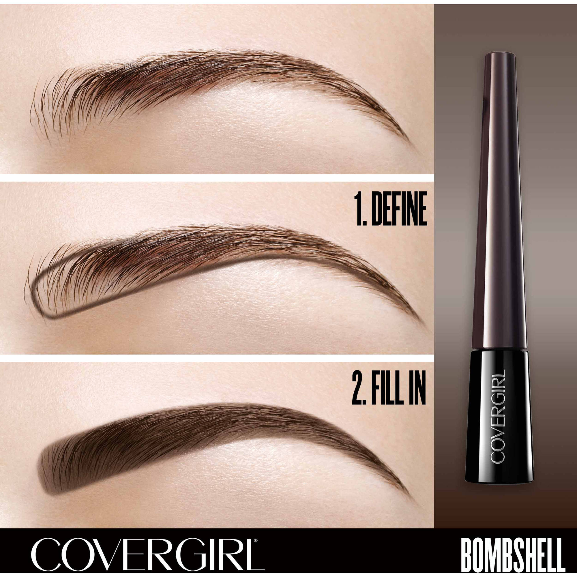 Covergirl Bombshell Pow Der Brow Liner Eyebrow Powder Dark Brown