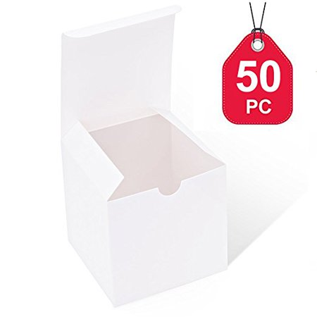 HOUSE DAY White Boxes 50 Pack 4 x 4 x 4 Inches, White Paper Gift Boxes with Lids for Gifts, Crafting, Cupcake Boxes - Cardboard Gift Boxes With Lids