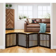 """PAWLAND 24""""H Home Wooden Freestanding 4-Panel Foldable Pet Gate"""