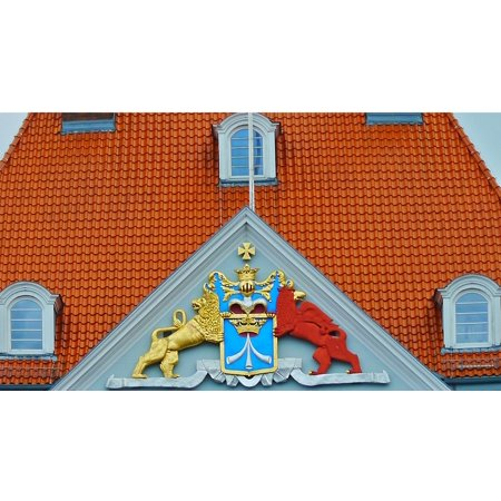 Canvas Print Home Coat of Arms Facade Historically Building Stretched Canvas 32 x 24 ()