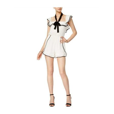 - BAR III Womens White Tie Ruffled Cap Sleeve Square Neck Micro Mini Fit + Flare Dress  Size: M