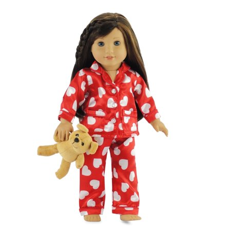 Pjs 18 Doll Clothes (18 Inch Doll Clothes Red & White Heart Pajamas PJs with Teddy Bear | Fits American Girl Dolls |Gift-boxed! )
