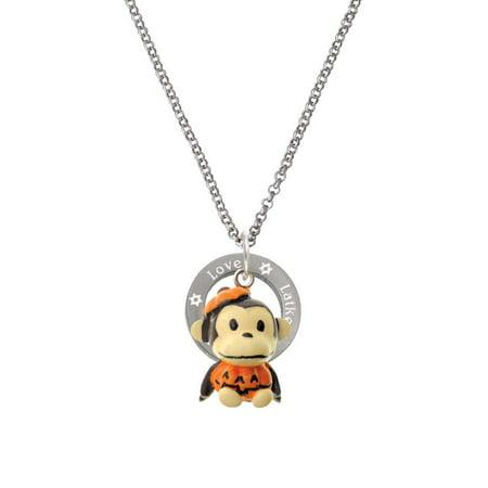 Resin Monkey in Pumpkin Costume Peace Love Latkes Affirmation Ring - Potato Costumes