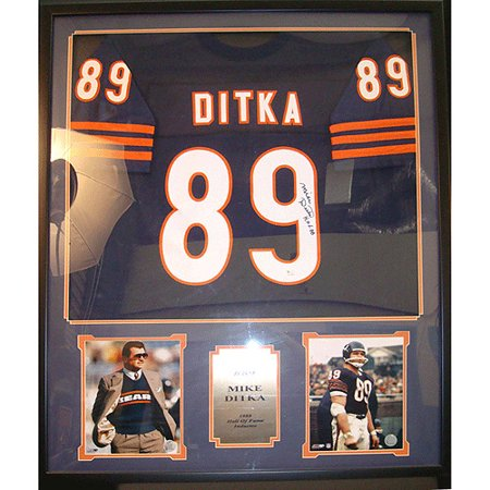Nfl Mike Ditka Autographed Shadowbox With Jersey And 2 Photos  36X44