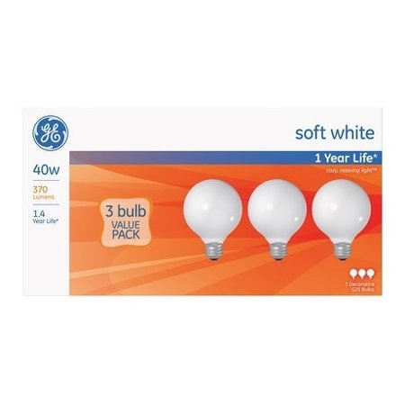 GE   Incandescent Light Bulb  40 watts 370 lumens 2800 K Globe  G25  Medium Base (E26)  3