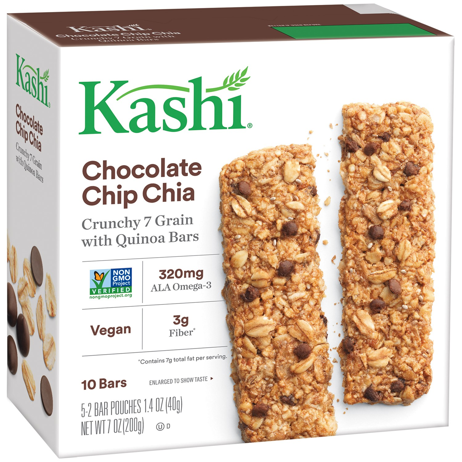 Kashi Crunchy Granola Chia Bar, Chocolate Chip, 0.7 Oz, 10 Ct