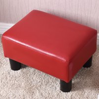 Costway Small Ottoman Footrest PU Leather Footstool Rectangular Seat Stool Red