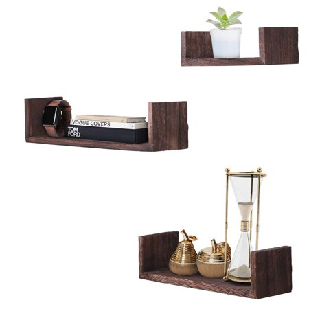 Rustic Wall Mounted U-Shaped Floating Shelves – Set of 3 – Large, medium and Small – Screws and Anchors Included - Farmhouse Shelves for Bedroom, Living Room and more –Rustic Wall Décor- Torched Brown ()