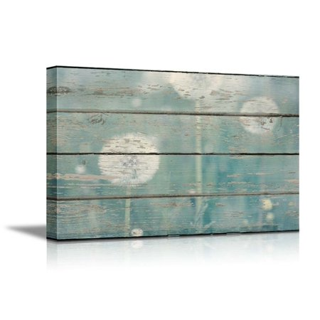 wall26 Canvas Prints Wall Art - Dandelion on Vintage Wood Board Background Stretched Canvas Wrap. Ready to Hang Home Decoration - 12