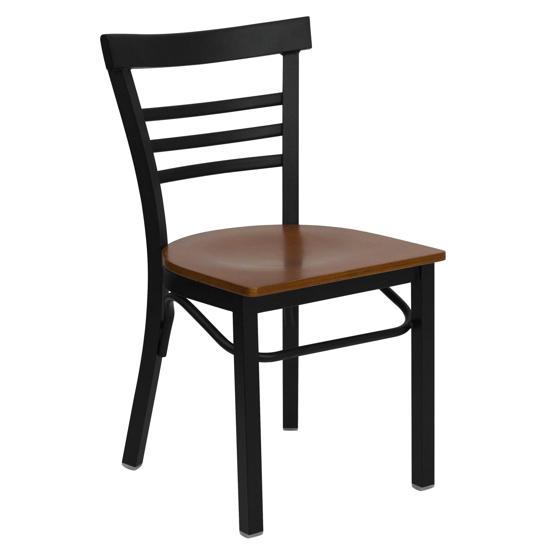 Lancaster Home Black Ladder Back Metal Restaurant Chair