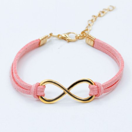 Women Trendy Infinity Symbol Leather Wristband Multilayer Bracelet Wrap - Pink Wristbands