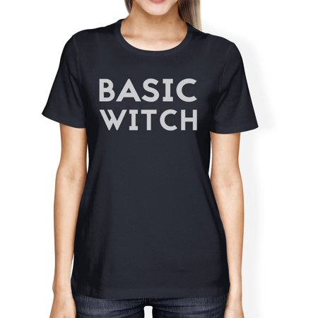 Basic Witch Womens Cute Halloween Costume T-Shirt Navy Round - Navy Woman Costume