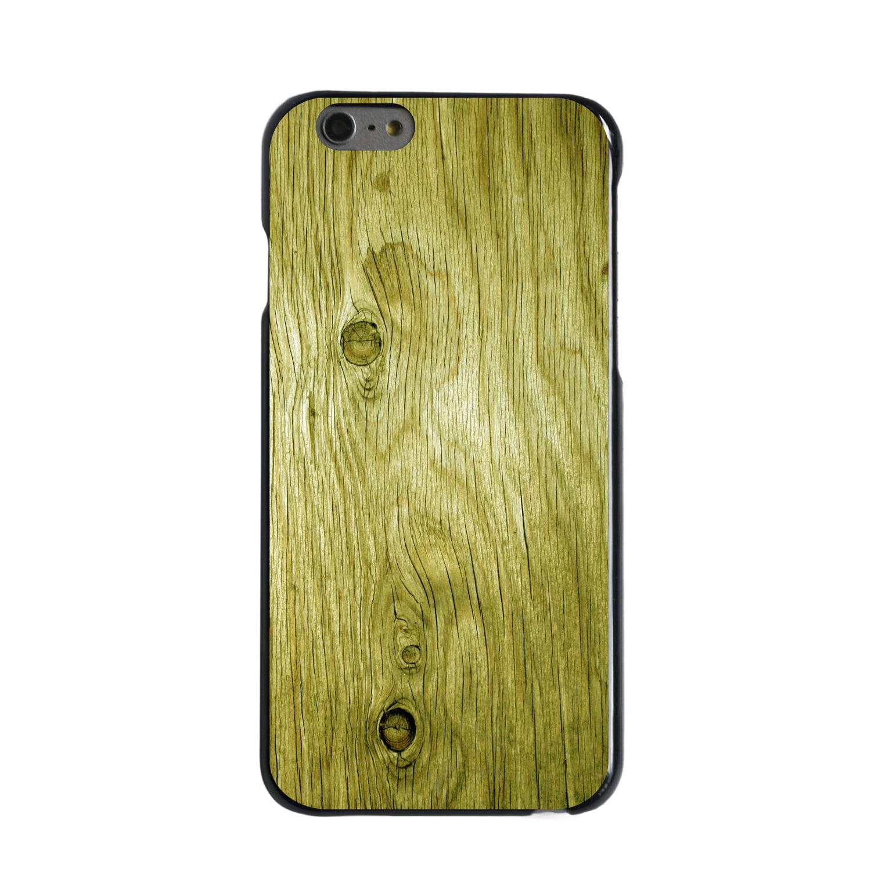 "CUSTOM Black Hard Plastic Snap-On Case for Apple iPhone 6 PLUS / 6S PLUS (5.5"" Screen) - Yellow Weathered Wood Grain"