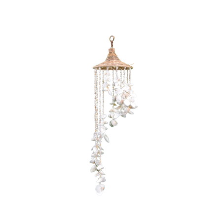 White Seashell Wind Chimes with Ratton Hat 6x24, Decorative Outdoor Beach Windchime, Unique Wind Chimes](Seashell Wind Chime)