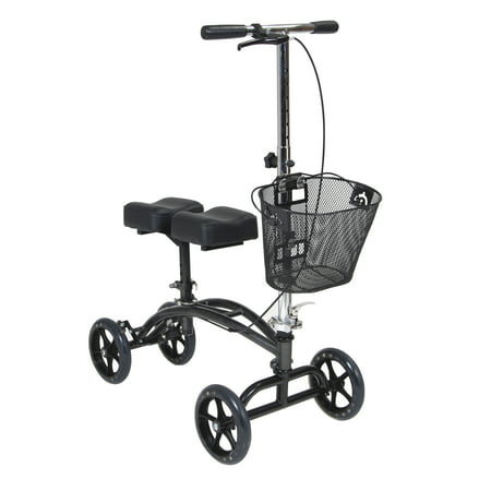 Drive Medical Dual Pad Steerable Knee Walker Knee Scooter with Basket, Alternative to Crutches Drive Steel Forearm Crutches