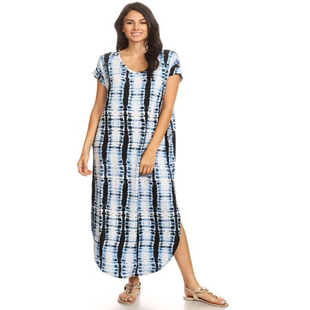 MOA COLLECTION Women's Tie Dye Pattern Print Casual Loose Fit Oversize A-line Maxi Dress/Made in (Tie Dye Maxi Dress)