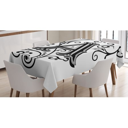 Letter A Tablecloth, Ornamental Pattern Uppercase A First Letter of the Alphabet Abstract Design, Rectangular Table Cover for Dining Room Kitchen, 52 X 70 Inches, Black Grey White, by Ambesonne - Sofia The First Table Cloth