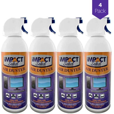 Impact Select Air Duster Compressed Canned Air Keyboard Computer Cleaner Dust Off 10oz Can with Straw (4 Pack) ()