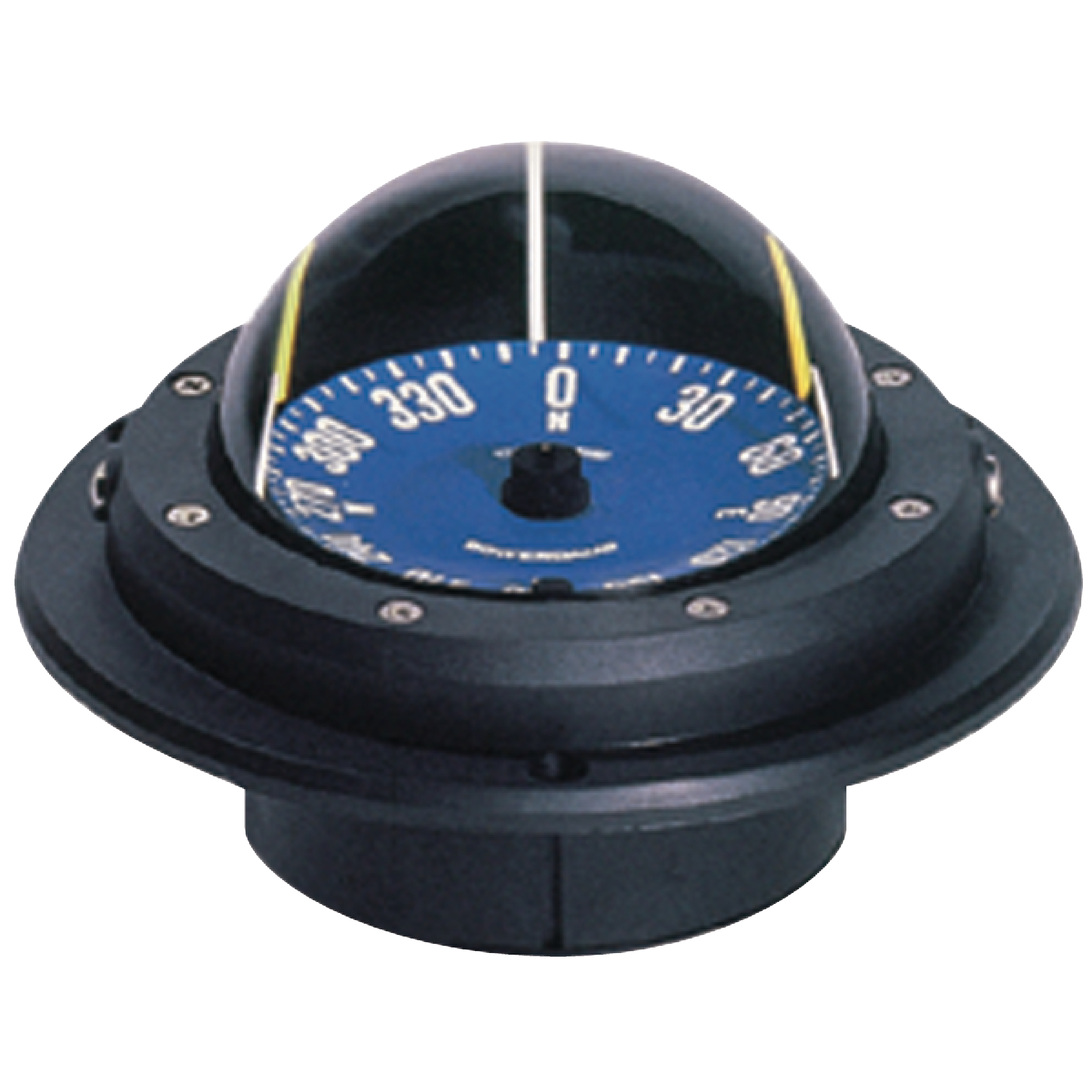 """Ritchie RU-90 Voyager Racing Boat Compass with No Light & Flush 4-1 8"""" Hole Mount by E.S. Ritchie & Sons Inc."""