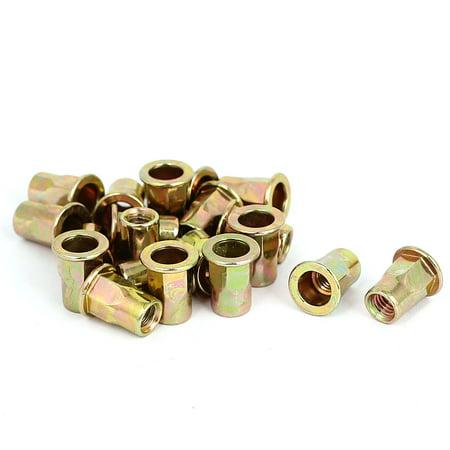 Uxcell M6x15mm Half Hex Body Flat Head Blind Rivet Nuts Nutserts Fasteners (20-pack)