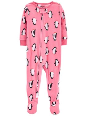 Carters Infant Girls Plush Pink Penguin Sleeper Footie Pajamas Sleep & Play 24m