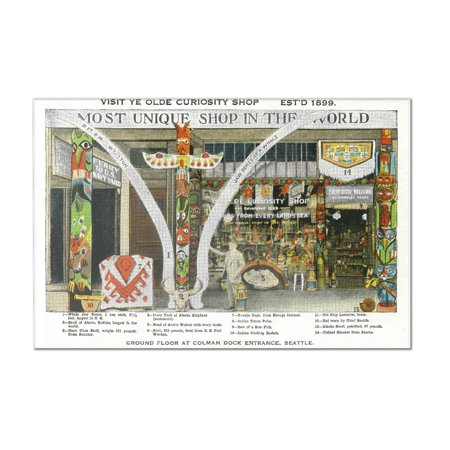 Seattle, WA - Exterior View of Ye Olde Curio Shop, Whale Bones (12x8 Acrylic Wall Art Gallery Quality) ()