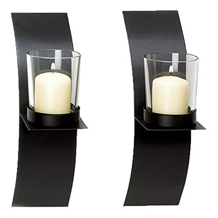 Adorox (Set of Two) Black Metal Wall Sconce Candle Holder Modern Minimalist Art