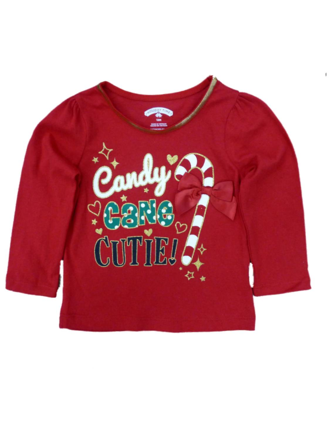 Holiday Time Infant Toddler Girl Candy Cane Cutie Christmas T ...